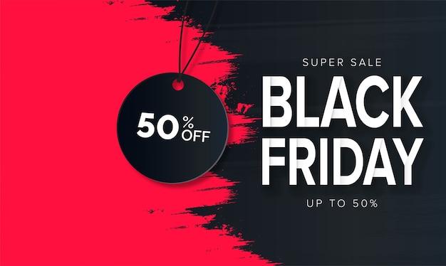 Moderner black friday super sale mit red brush stroke