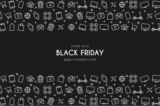 Moderner black friday-superverkaufshintergrund mit shop-ikonen