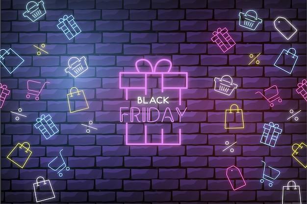 Moderner black friday-verkaufs-hintergrund mit neonshop-elementen