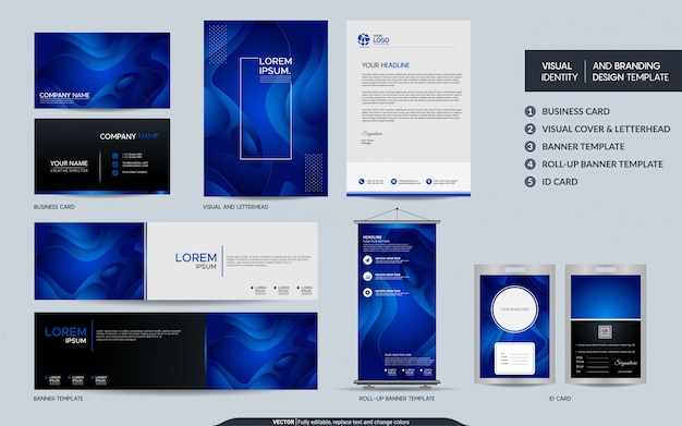 Moderner blauer briefpapiersatz und sichtmarkenidentität mit abstrakter bunter dynamischer hintergrundform.