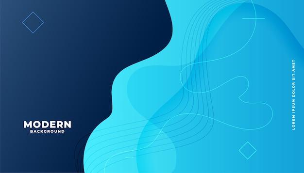 Moderner blauer flüssiger gradientenhintergrund mit kurvigen formen