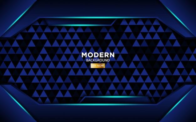 Moderner blauer form zukünftiger vektorhintergrund mit blauen lichtlinien in dreieckbeschaffenheit.