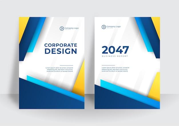 Moderner blauer gelber geschäfts-corporate-cover-designhintergrund. blaue digitale zeitgenössische cover, vorlagen, poster, broschüren, banner, flyer. abstraktes minimalistisches futuristisches technologiedesign