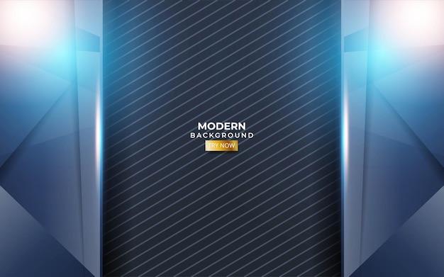 Moderner blauer hintergrund mit einer blauen und goldenen linie in der kohlenstoffbeschaffenheit