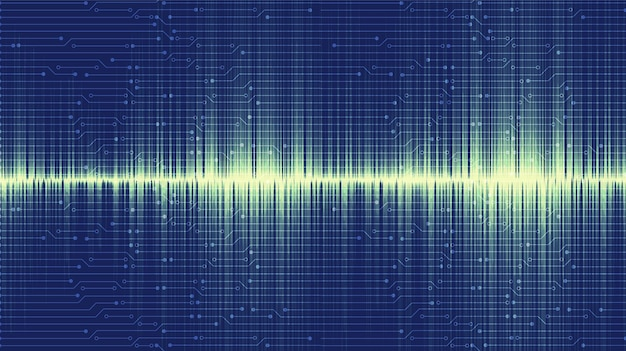 Moderner bluesound wave hintergrund, technologie und erdbebenwellendiagrammkonzept, design für musikstudio und wissenschaft, vektorillustration.