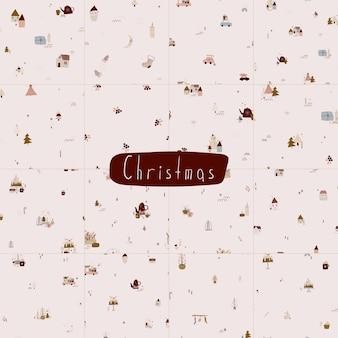 Moderner boho hygge minimalismus frohe weihnachten und neujahr winteraufkleber für design