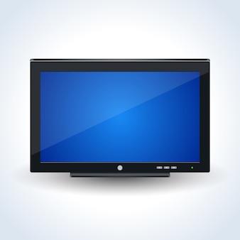 Moderner breiter fernseher, realistische vektorikone des computertischmonitors