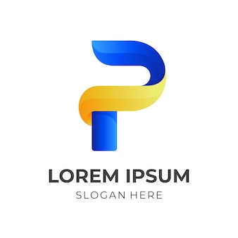 Moderner buchstabe p logoentwurf mit 3d blauem und gelbem farbstil