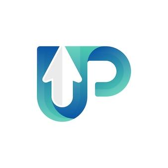 Moderner buchstabe up-pfeil-logo-vektor