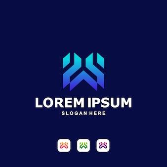 Moderner buchstabe w logo premium
