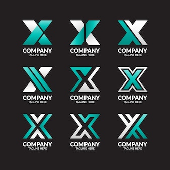 Moderner buchstabe x logo collection