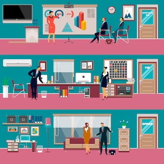 Moderner büroarbeitsplatz des vektors eingestellt in flache art