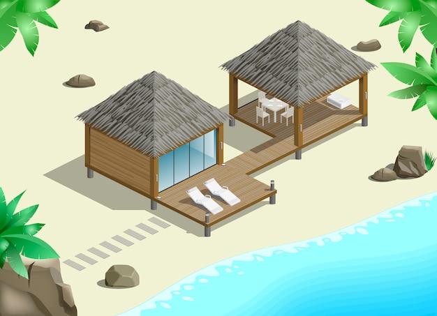 Moderner bungalow an der küste