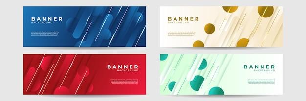 Moderner bunter blauer roter grüner orange abstrakter fahnen-designhintergrund. vektorgrafik für unternehmen, social media-vorlage, verkauf, website, landingpage, poster, cover