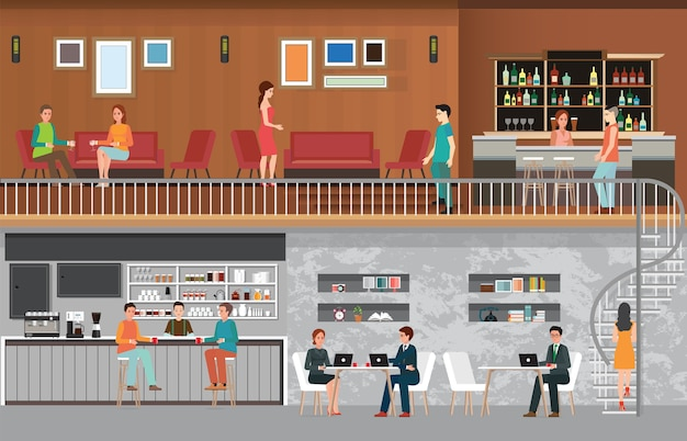 Moderner caféladen innenraum