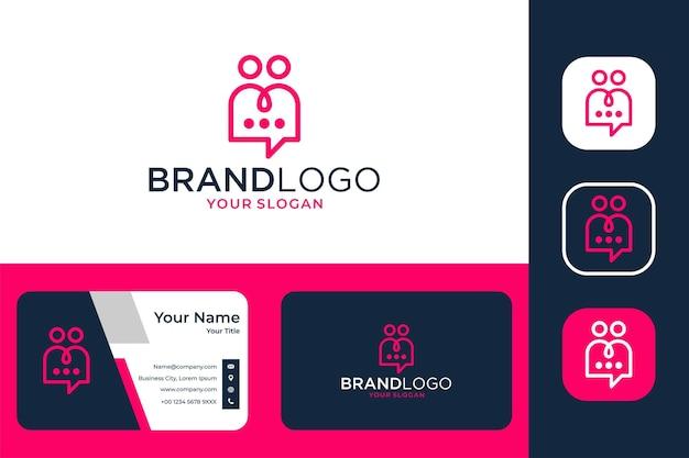 Moderner chat mit zwei personen logo-design und visitenkarte