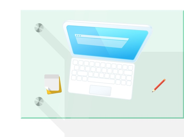 Moderner computer auf der tischvektorillustration