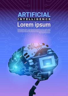 Moderner cyborg brain mechanism über stromkreis-motherboard-hintergrund-vertikale fahne mit kopienraum