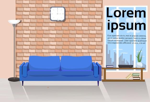Moderner dachboden-wohnzimmer-innenraum mit couch, tabelle und fenster. textvorlage