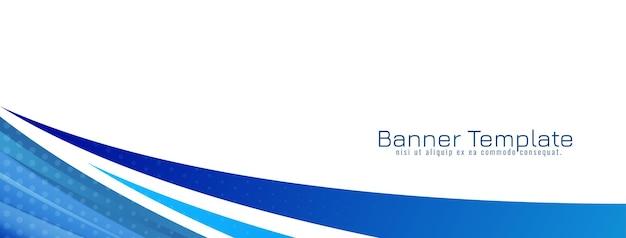 Moderner dekorativer blauer wellenartentwurfsfahnenschablonenvektor