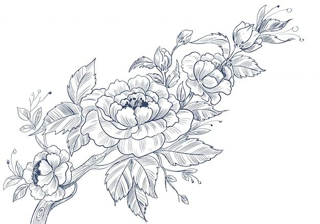 Moderner dekorativer blumenhintergrund mit skizzenhaftem stil