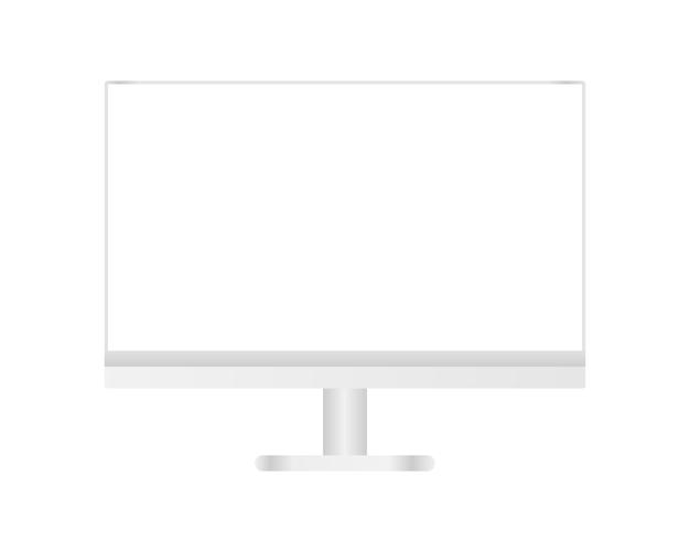 Moderner desktop-computer mit leerem bildschirm. vorlagenentwurf. realistische illustration.