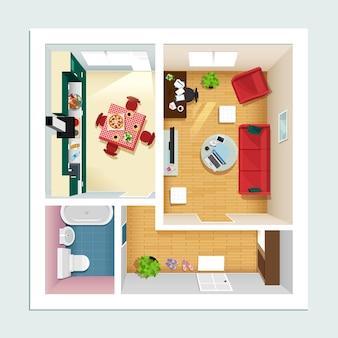 Moderner detaillierter grundriss für wohnung mit küche, wohnzimmer, bad und flur.