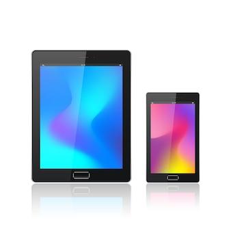 Moderner digitaler tablet-pc mit dem mobilen smartphone lokalisiert auf dem weiß. abstrakte flüssige 3d-formen vektor trendige flüssige farbhintergründe. farbige flüssige grafische komposition.