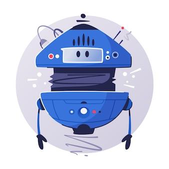 Moderner drohnenassistent. cartoon roboter helfer. ki-maschine. futuristischer cyborg. technik und zukunft.