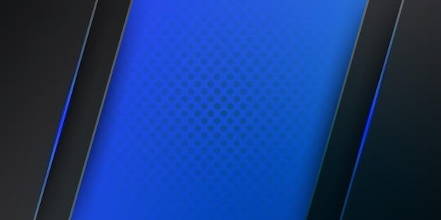 Moderner dunkelblauer metallischer abstrakter 3d-hintergrund mit dynamischen überlappungsschichten und heller dekoration