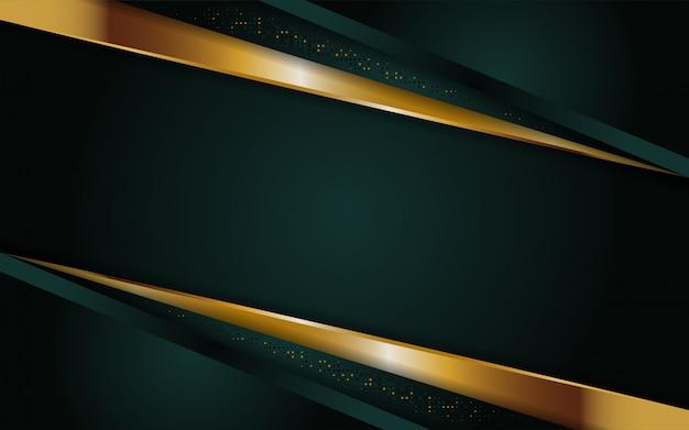 Moderner dunkelgrüner abstrakter hintergrund mit goldener linie