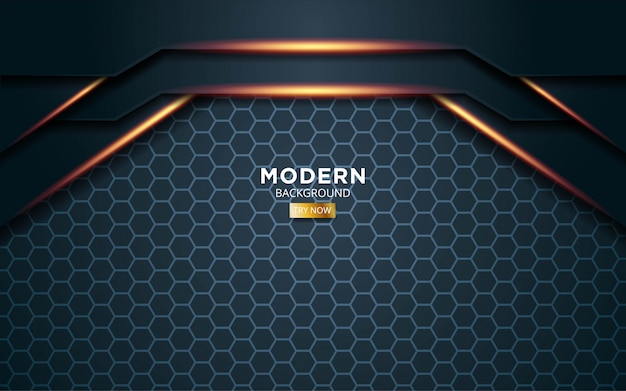 Moderner dunkelgrüner premium-vektorhintergrund mit goldenen lichtlinien in sechseckstruktur.