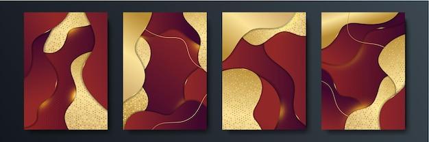 Moderner dunkelroter und goldener abstrakter hintergrund für unternehmen