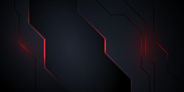 Moderner dunkler abstrakter hintergrund mit roter leuchte