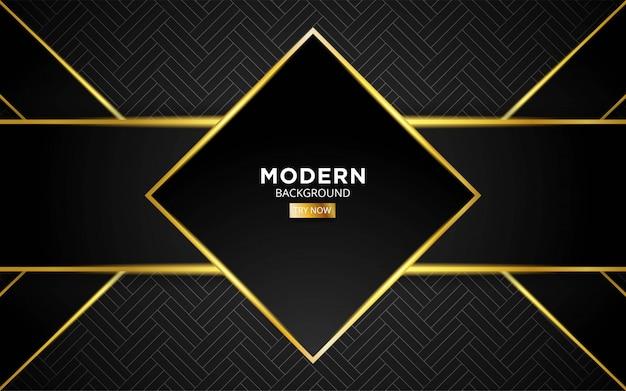 Moderner dunkler abstrakter zukünftiger technologievektorhintergrund mit goldener lichtlinie in der geometrischen textur.