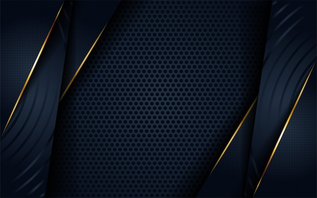 Moderner dunkler hintergrund der zusammenfassung 3d mit kreis- und goldener linie form.