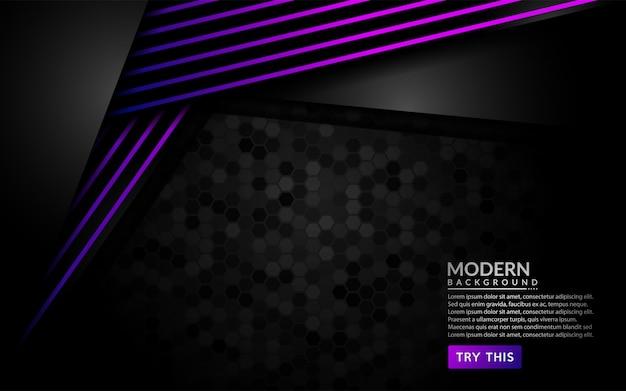 Moderner dunkler hintergrund mit shinny purpurroten linien.