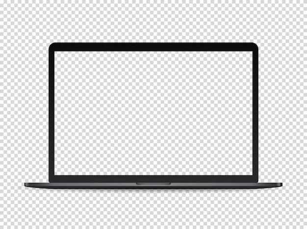 Moderner erstklassiger laptop auf dunklem hintergrund. transparenter bildschirm für einen inhalt