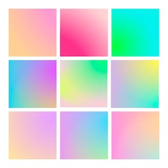 Moderner farbverlauf mit quadratischen abstrakten hintergründen. bunte flüssige abdeckungen für kalender, broschüren, einladungen, karten. trendige weiche farbe. vorlage mit modernem farbverlaufsset für bildschirme und mobile app