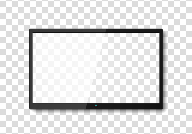 Moderner fernsehbildschirm. breitbildfernseher anzeigen, digitale realistische schwarze bildschirmillustration, fernsehbildschirmvektor. lcd- oder led-fernsehbildschirm.