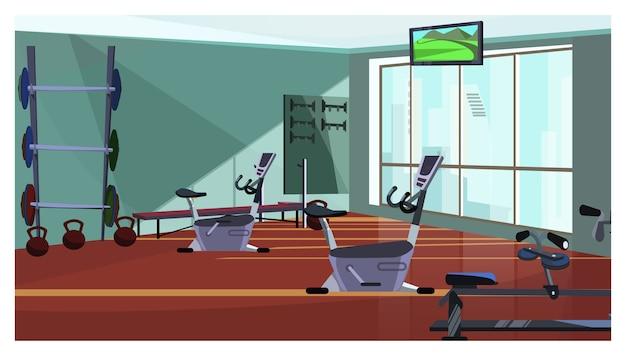 Moderner fitnessclub mit spinnender ausrüstungsillustration