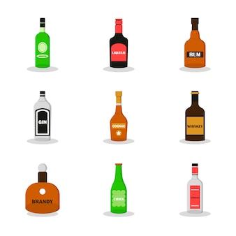 Moderner flacher satz alkohol. satz von absinth, likör, whisky, sambuca, brandy, cognac, gin, rum, apfelwein