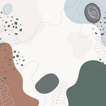 Moderner floraler bunter hintergrund mit abstrakten formen verlässt