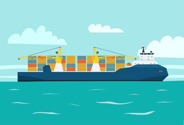 Moderner frachtschiffcontainer mit kränen im meer. vektorartillustration.