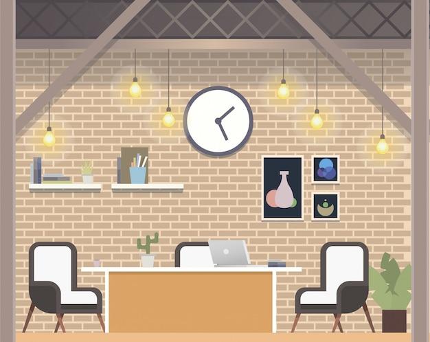 Moderner freiberuflicher coworking workplace loft style