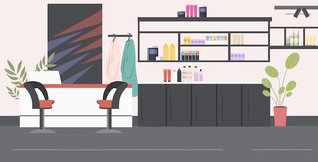 Moderner friseursalon mit dem aufnahmeschreibtischschönheitssaloninnenraum horizontal