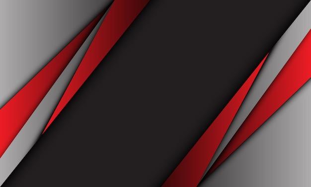 Moderner futuristischer hintergrund des roten grauen metallischen dreiecksentwurfs der abstrakten dunklen linie.