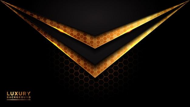 Moderner futuristischer luxushintergrund des dunklen und goldenen dreiecks.