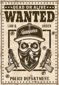 Moderner gangsterschädel in hysteresenhut und bandana auf gesicht wollte poster in vintage-stil-vektor-illustration. überlagerte, separate grunge-textur und text