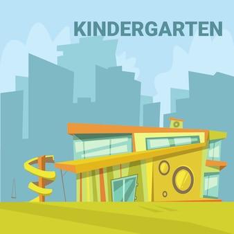 Moderner gebäudehintergrund des kindergartens in einer stadt mit einem dia für kinderkarikatur-vektor illustrat